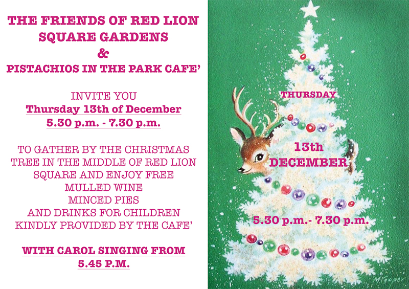 Christmas Caroles.Christmas Carols At Our Cafe In Red Lion Square Gardens